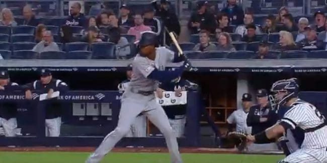 Dee Gordon batting for the Seattle Mariners against the New York Yankees