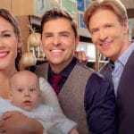 Erin Krakow, Paul Greene, and Jack Wagner pose on the set of When Calls the Heart