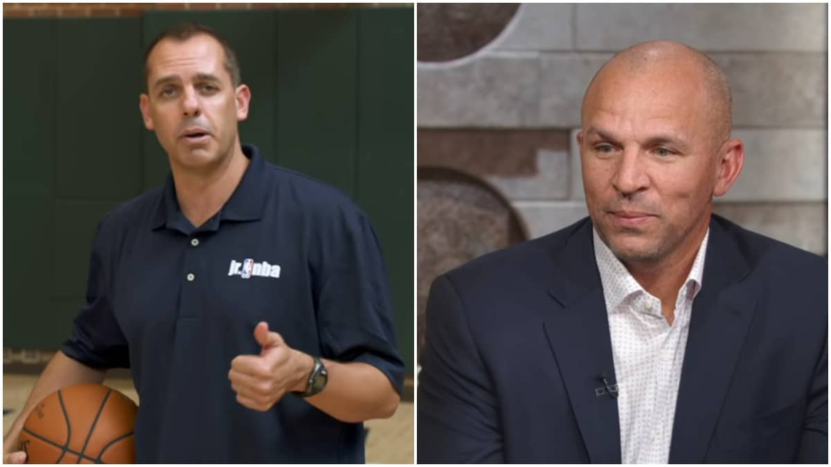 Frank Vogel and Jason Kidd of the Los Angeles Lakers