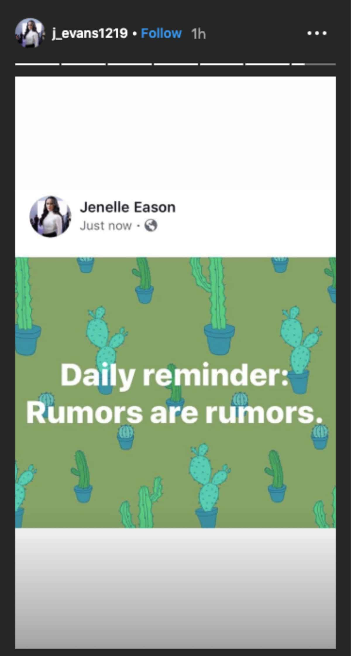 Jenelle Evans issues a reminder of sorts on her Instagram stories