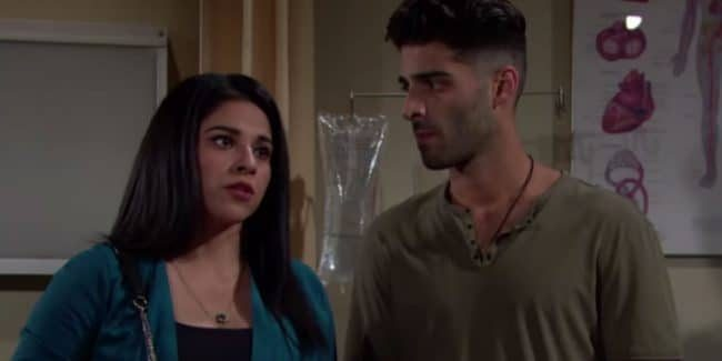 Noemi Gonzalez and Jason Canela as Mia and Arturo on The Young and the Restless.