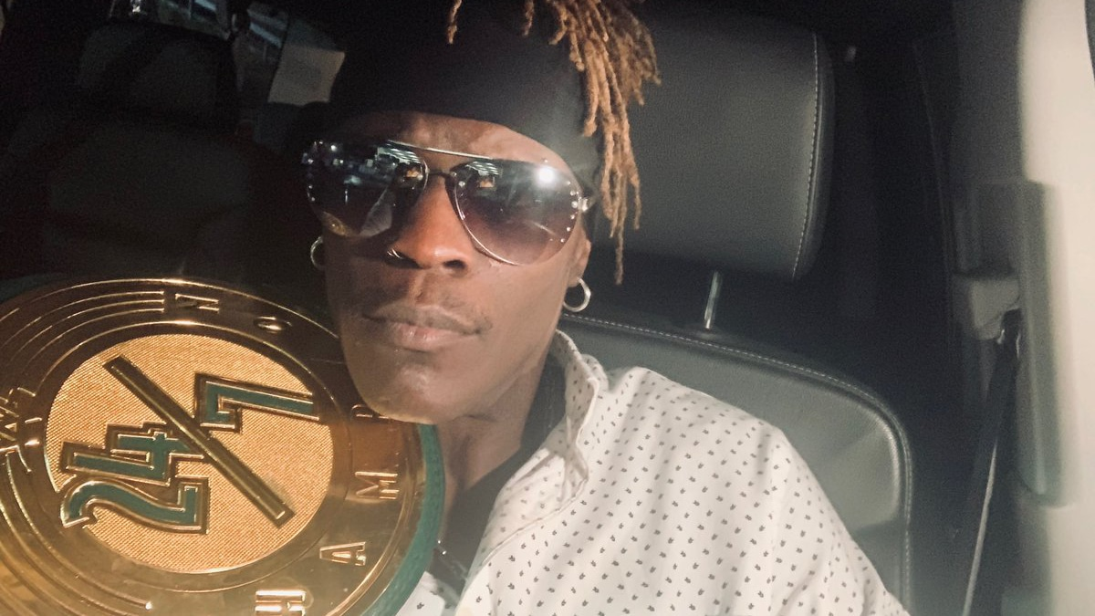 R-Truth pictured with the new 24/7 title
