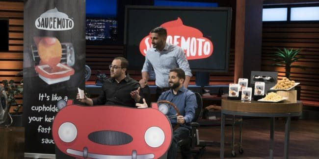 William Moujanes, Tony Lahood, and Michael Koury share Saucemoto on Shark Tank.