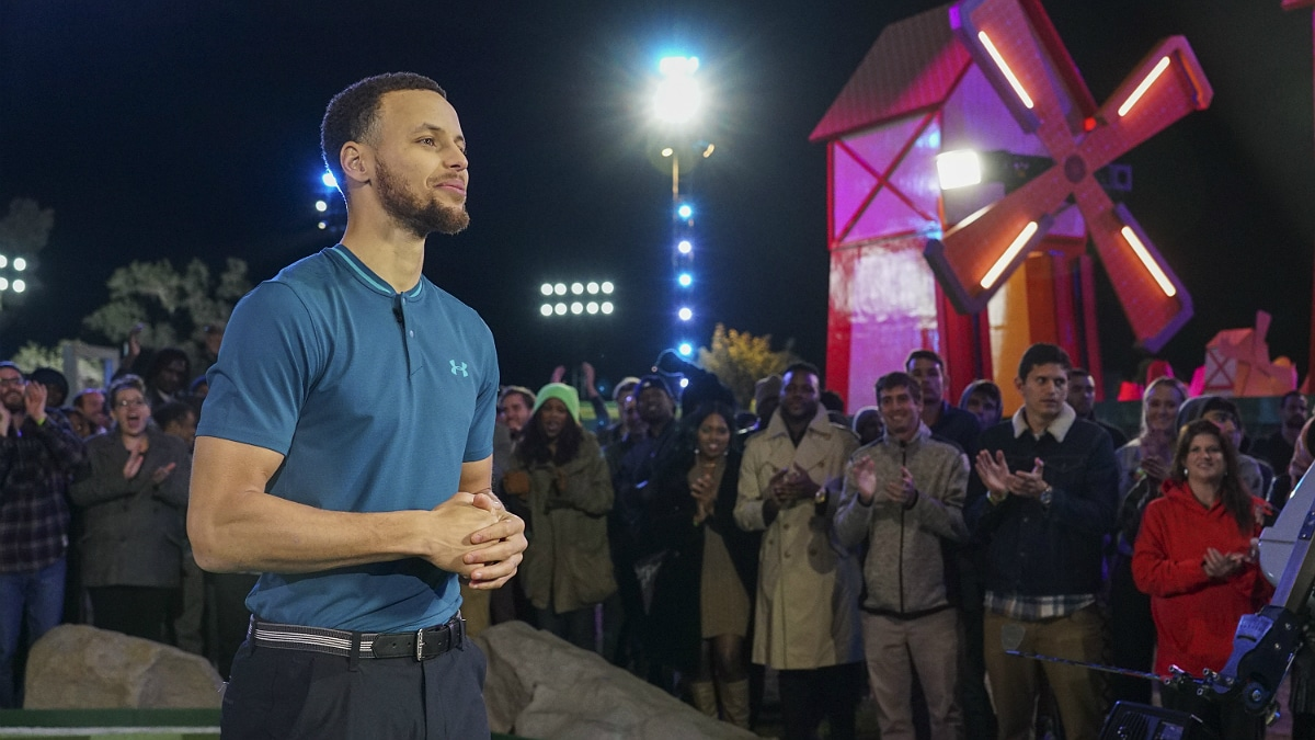 Stephen Curry showing mini-golf skills on Holey Moley