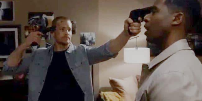 Justin points a gun Jeffrey and himself