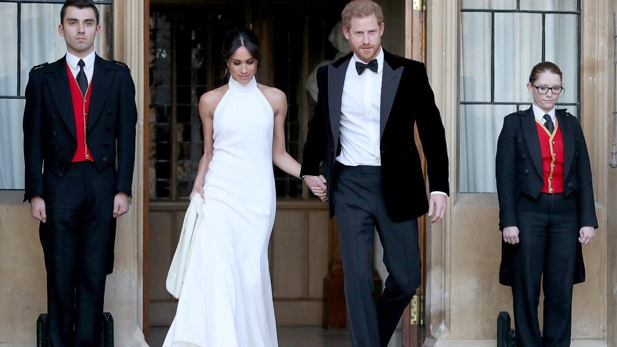 Prince Harry and Meghan Markle outside Windsor Castle