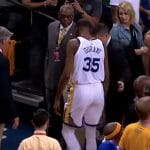 kevin durant limps off the court with an injury versus houston
