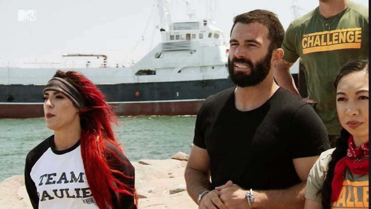 cara maria and turbo watch as paulie attempts a tough challenge