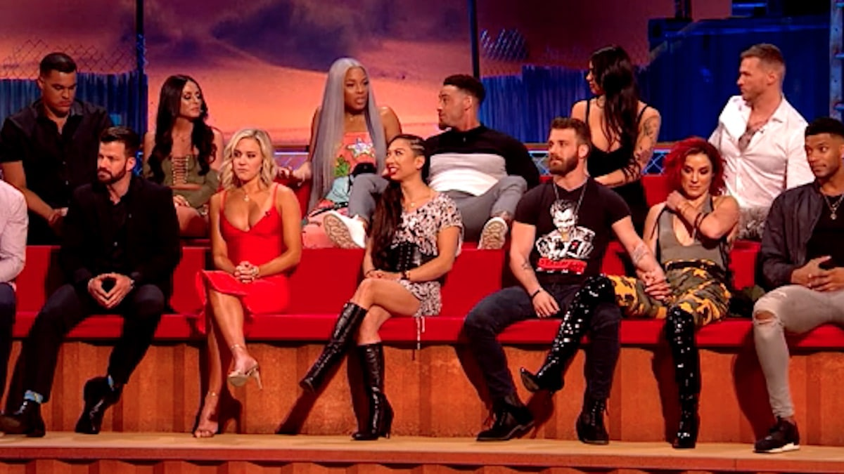 cast members of mtv's the challenge war of the worlds at the reunion episode in london