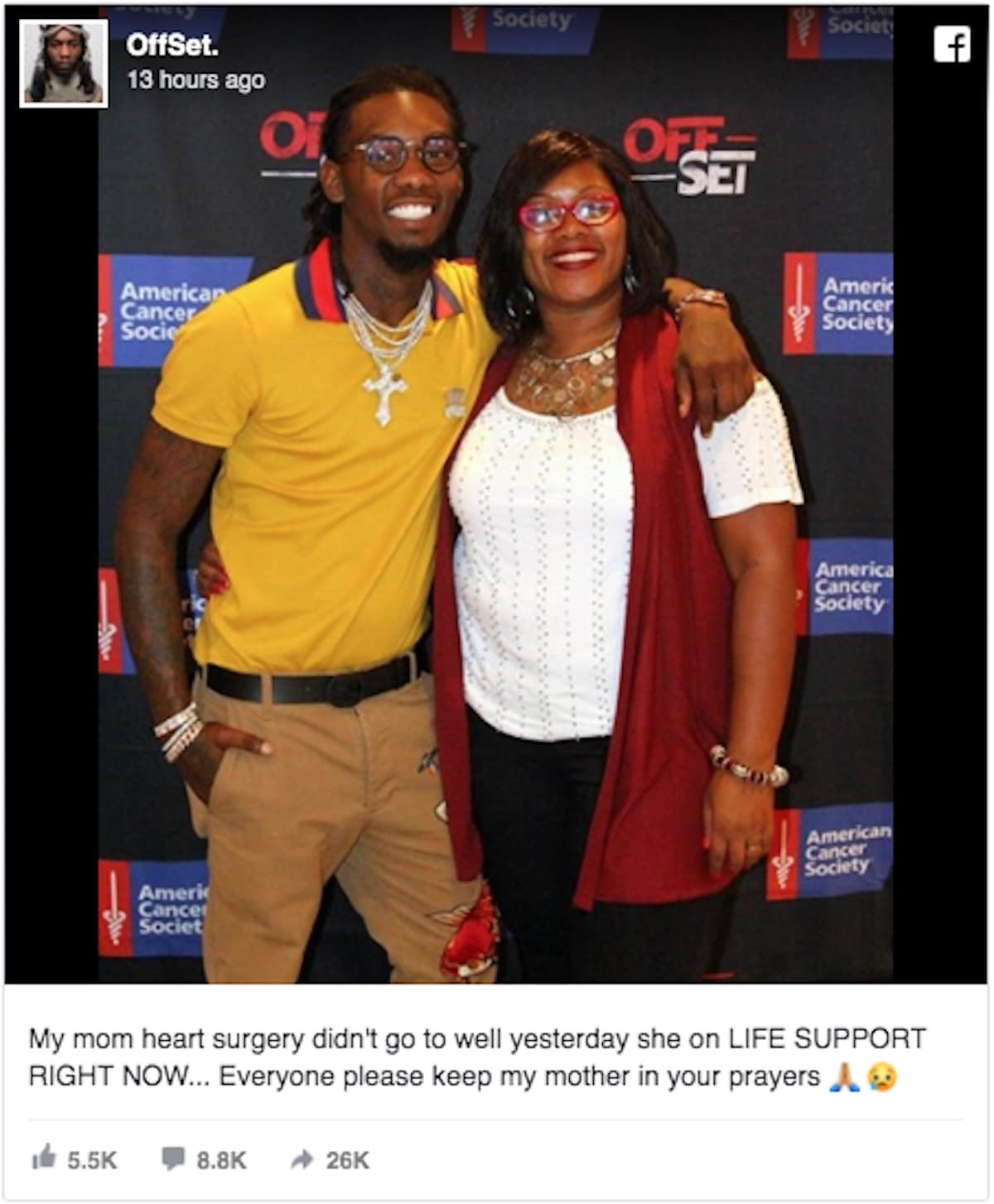 Fake post claiming Offset's mom was on life support