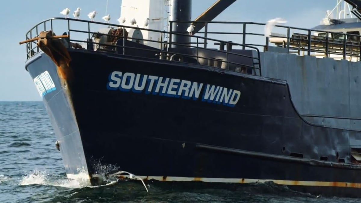 """New captain Steve """"Harley"""" Davidson mans the Southern Wind, the 2nd largest boat in the fleet. Pic credit: Discovery"""