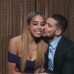 Vinny kisses Alysse in the confessional after choosing her on Double Shot at Love