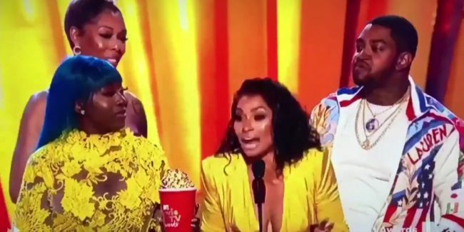 Spice, Bambi Benson, Karlie Redd and Lil Scrappy accept the Reality Royalty award at the MTV Movie & TV Awards