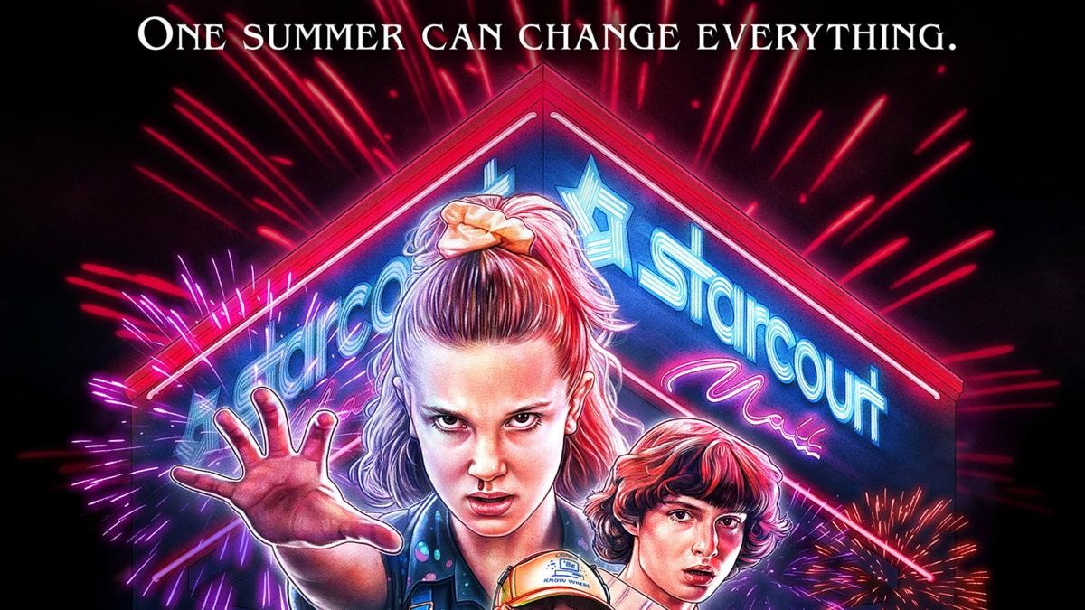 Season 3 poster for Stranger Things showing various cast members