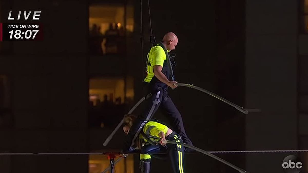 Siblings Nik and Lijana Wallenda did the stunt successfully last night. Pic credit: ABC