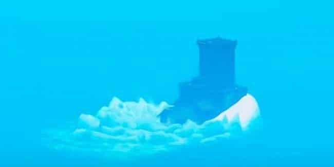 fortnite sea creature seen carrying polar peak castle