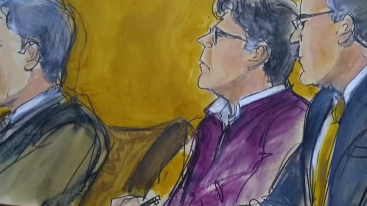 A court crime sketch of the trial of Keith Raniere, still from E! News report on the case and conviction. Pic credit: E! News