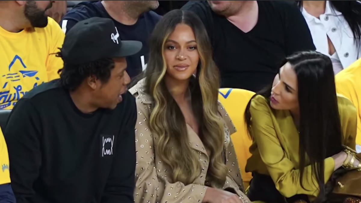 jay-z beyonce and nicole curran at 2019 NBA finals game 2