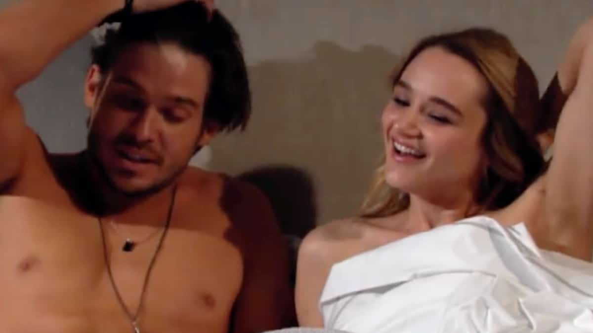 Theo and Summer in bed on The Young and the Restless