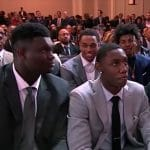 zion williamson and duke teammates at nba draft event