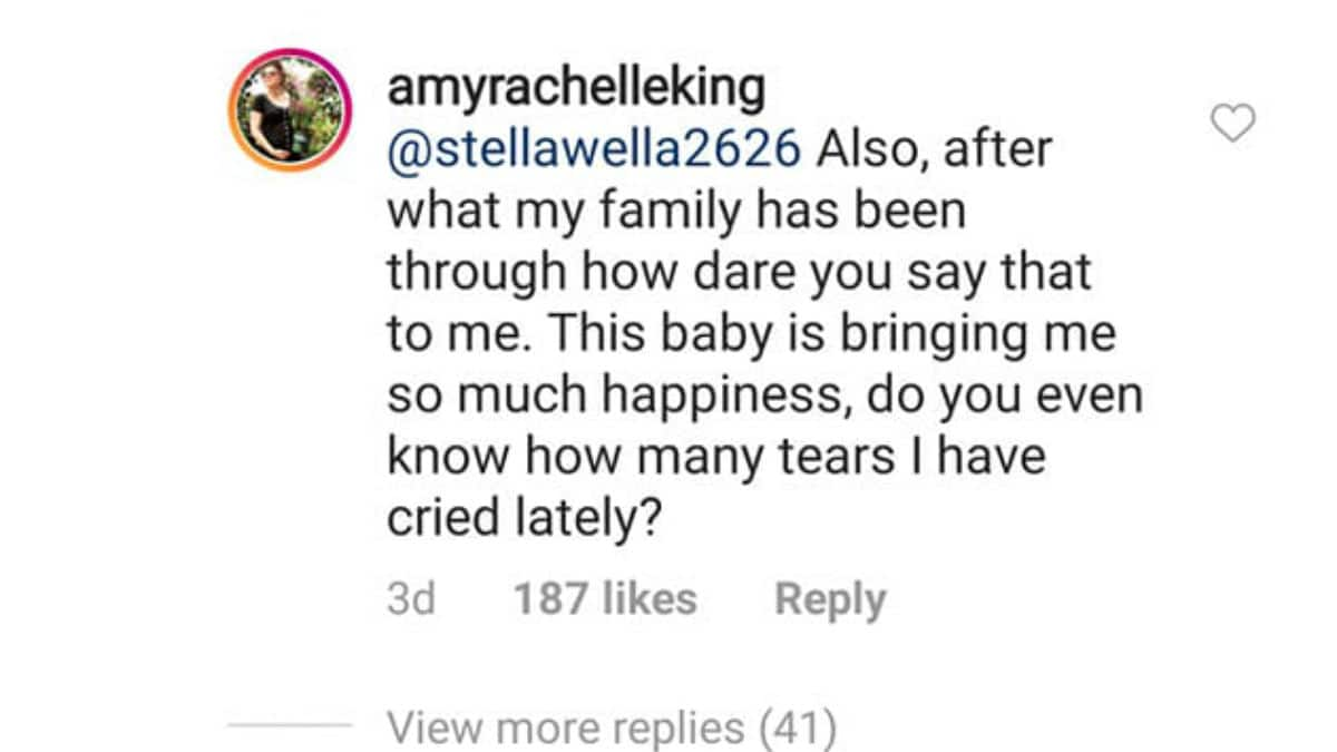 Amy Duggar King's response to critic.