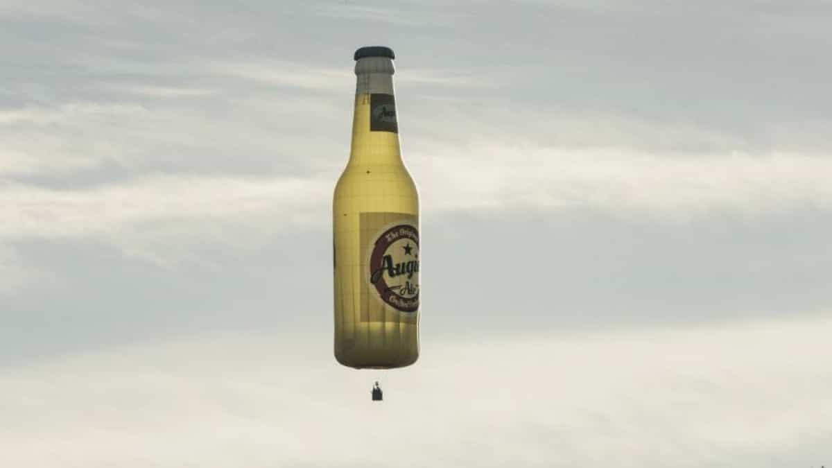 A flying beer bottle hot air balloon on Fear the Walking Dead