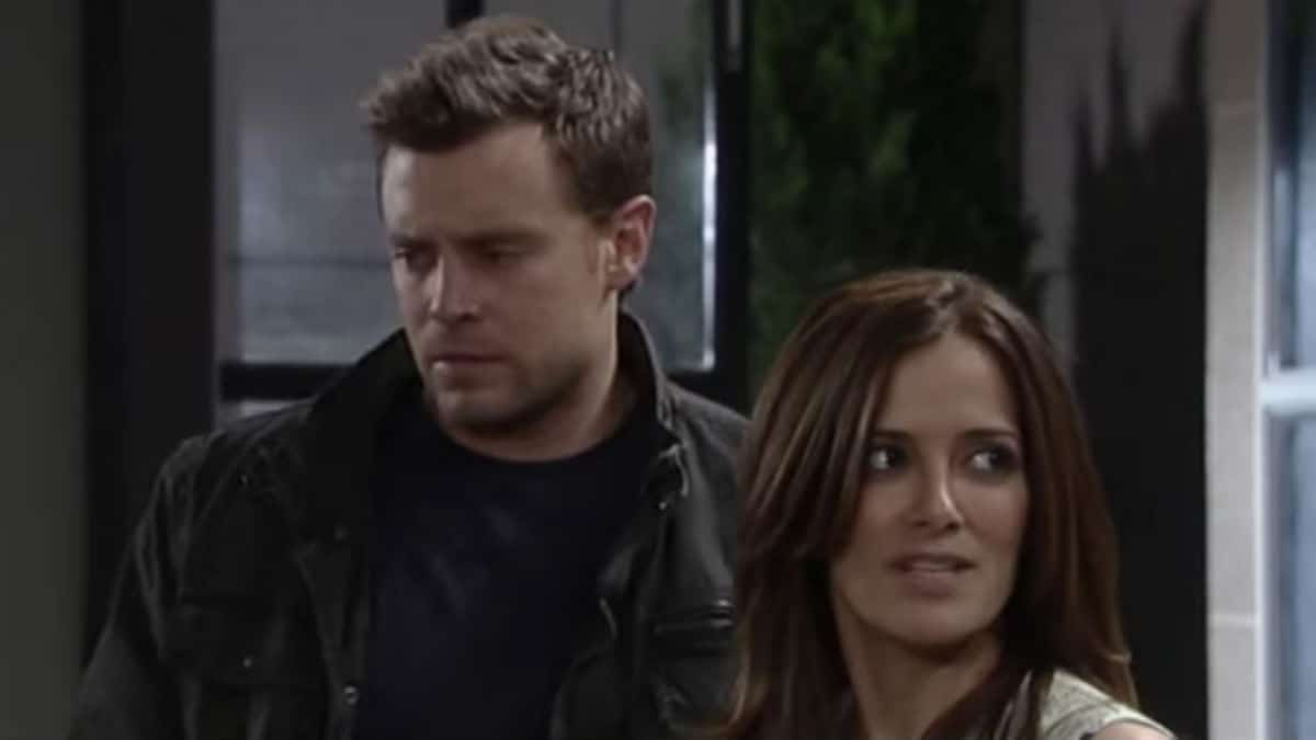 Billy Miller and Rebecca Budig as Jake and Hayden on General Hospital.