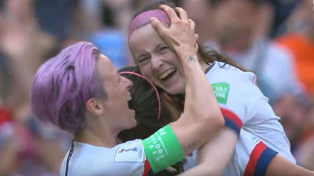 Rose Lavelle celebrating her goal