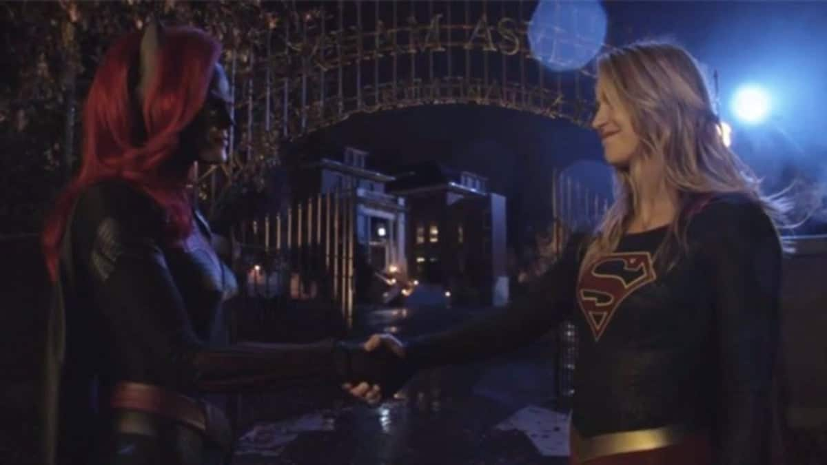 "Ruby Rose as Batwoman and Melissa Benoist on the Arrowverse crossover, ""Elseworlds."""