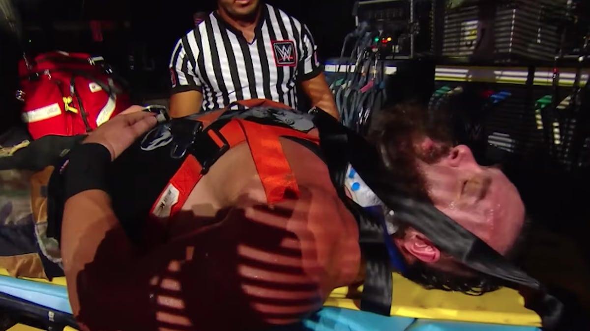 braun strowman shown on a stretcher on the july 1 wwe raw episode