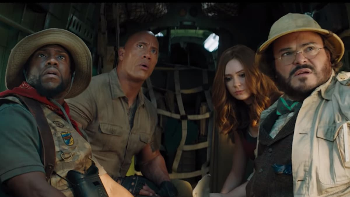 kevin hart the rock karen gillan and jack black in jumanji sequel