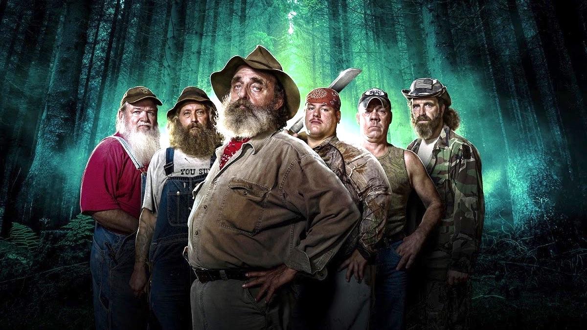 "Mountain Monsters cast members Jeff Headlee, Joseph ""Huckleberry"" Lott, John ""Trapper"" Tice, Jacob ""Buck"" Lowe, William ""Wild Bill"" Neff and Willy McQuillian"