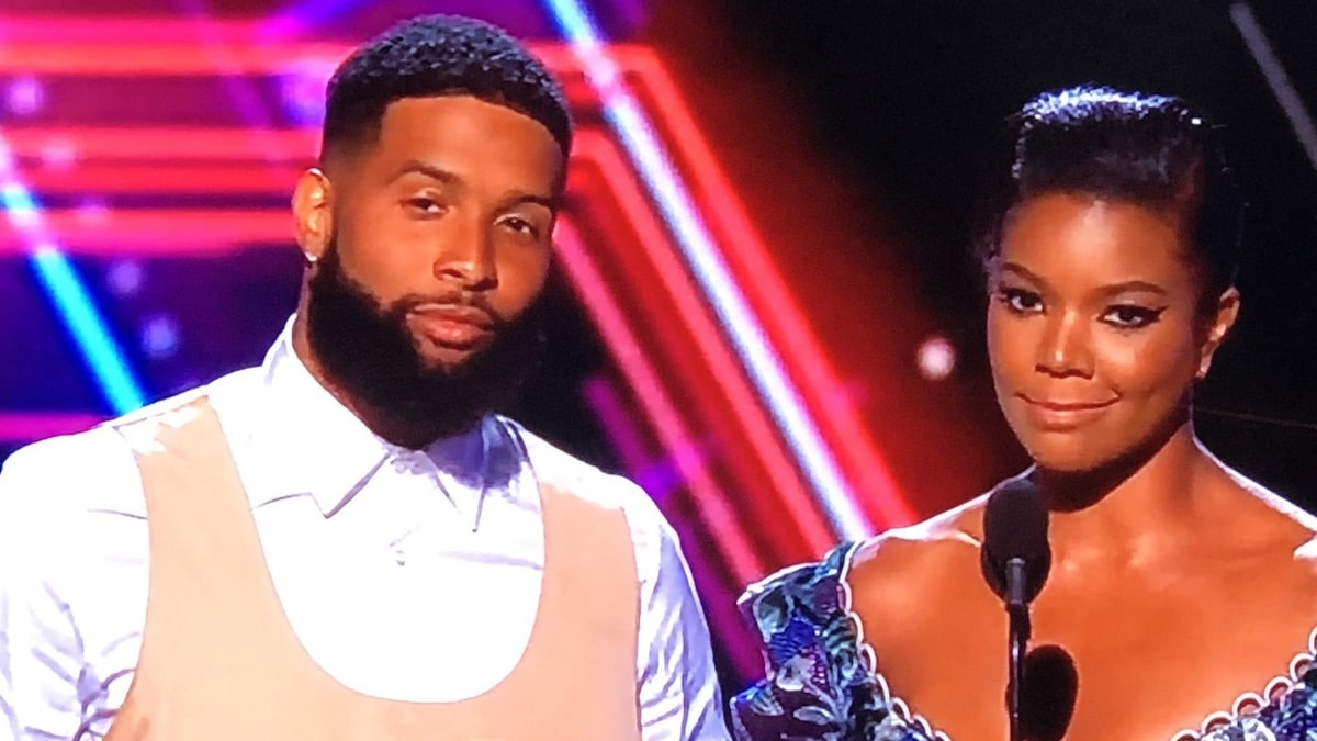 Odell's new look and new haircut on stage with Gabrielle Union