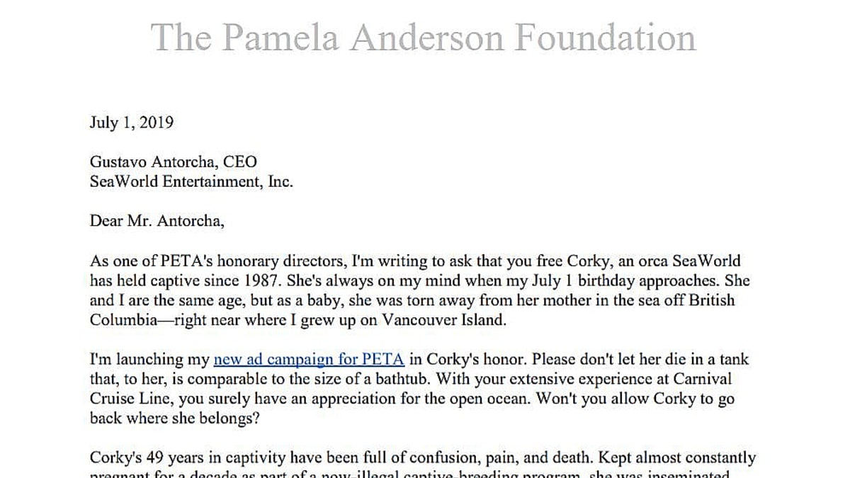 A screen shot of the letter posted at her foundation website for Corky. Pic credit: Pamela Anderson Foundation