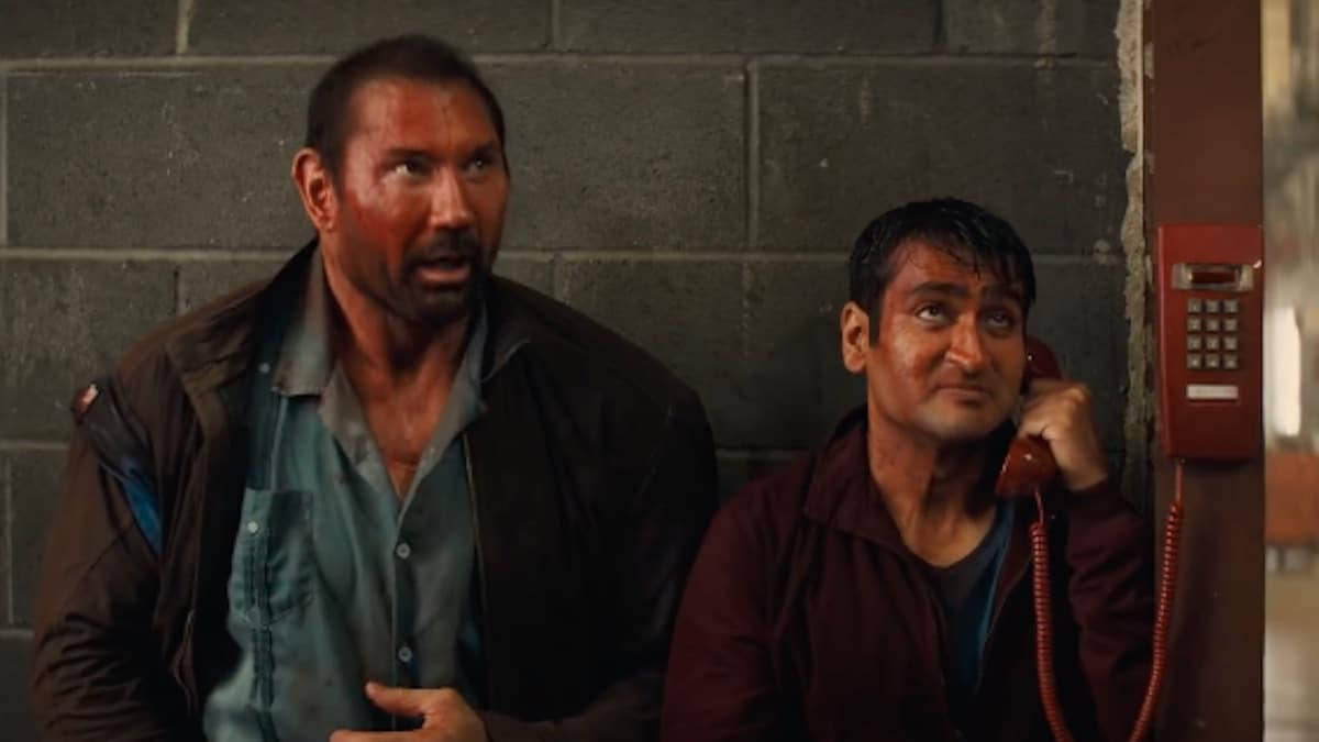 dave bautista and Kumail Nanjiani in the movie stuber