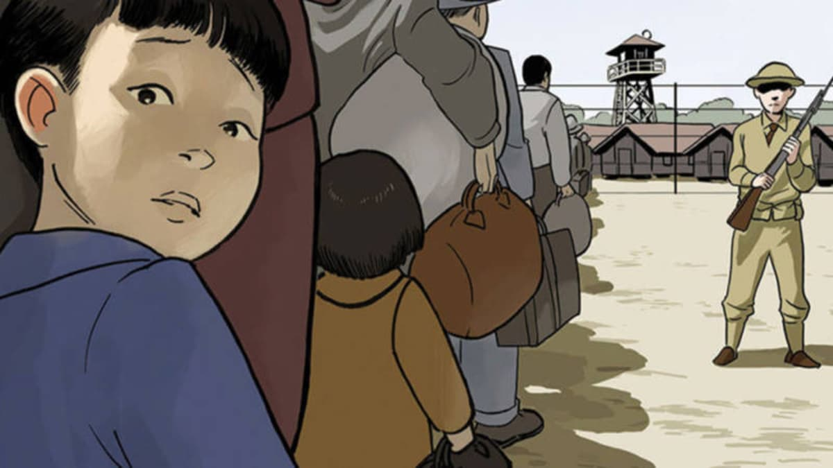 A close up of the cover of George Takei's graphic novel, They Called Us Enemy.
