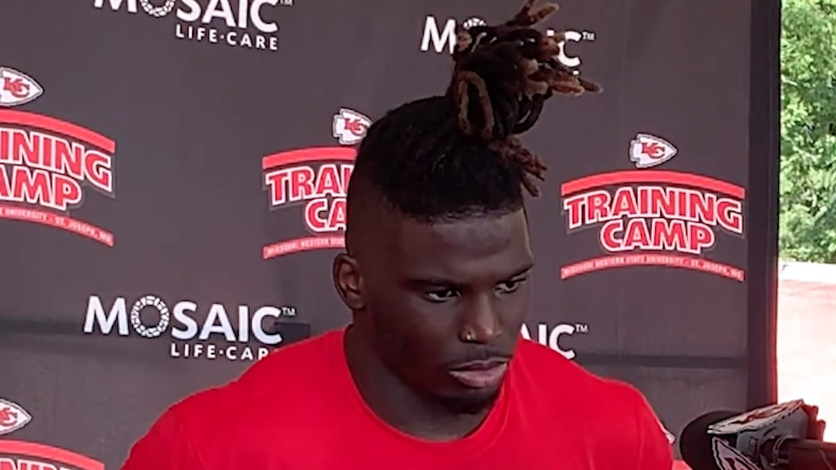 kansas city chiefs receiver tyreek hill speaks to the media