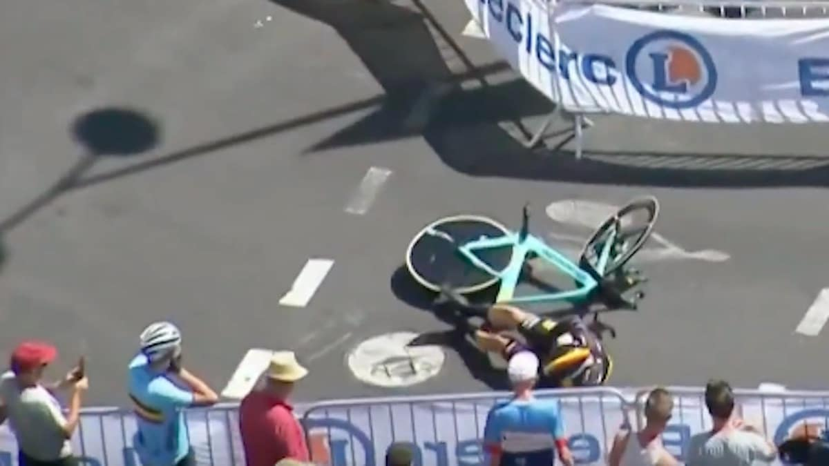 wout van aert after crashing with tt barrier at tour de france 2019
