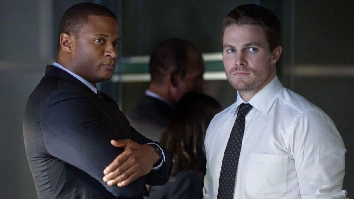 David Ramsey as John Diggle and Stephen Amell as Oliver Queen on Arrow.