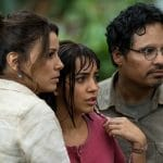 Eva Longoria, Isabela Moner and Michael Peña in the movie, Dora and the Lost City of Gold