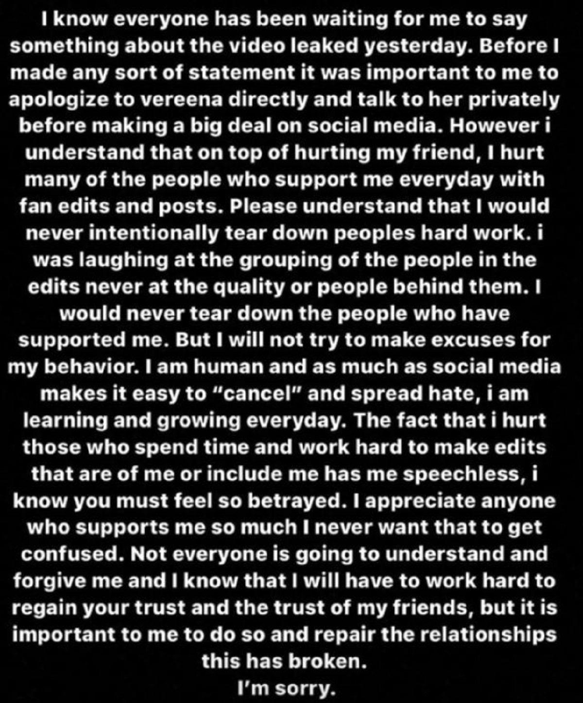 Hannah Meloche's apology
