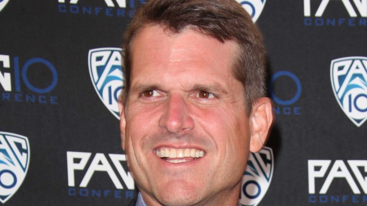 im Harbaugh & wife Sarah Stanford University Fox Sports/PAC 10 Hollywood Premiere Nite