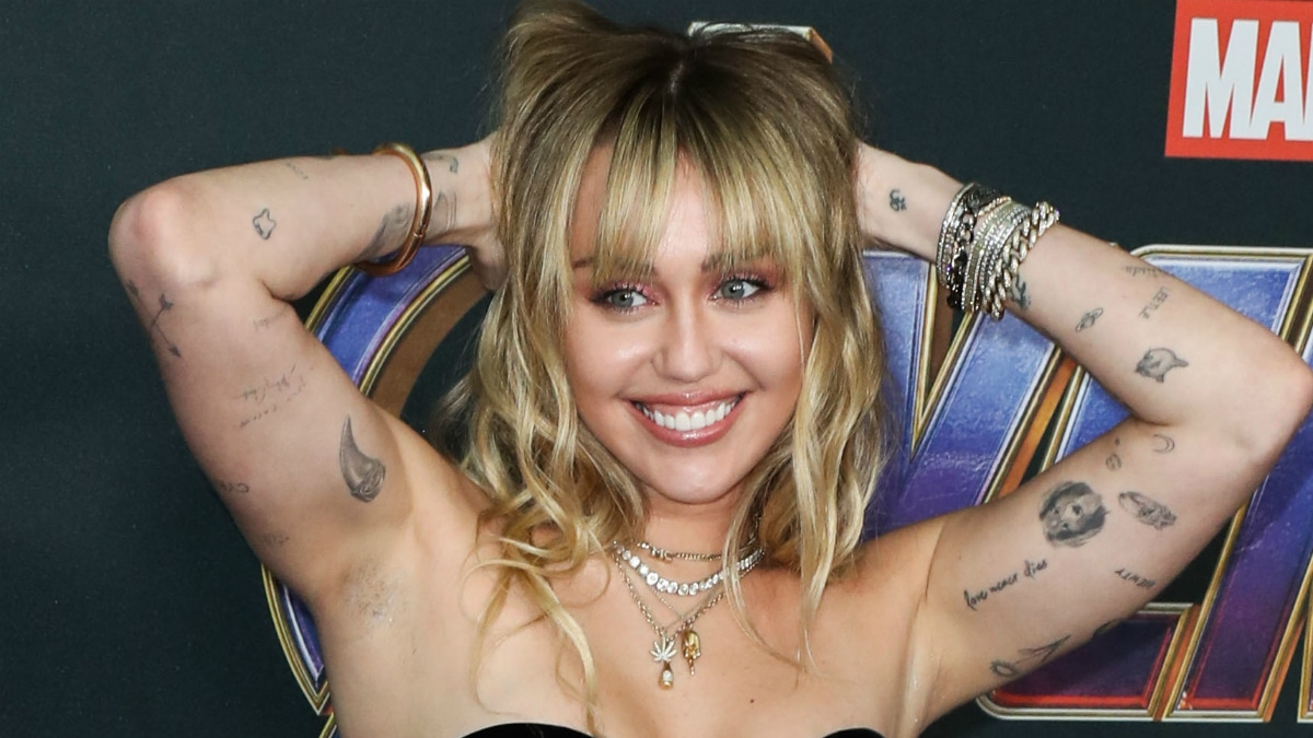 Singer Miley Cyrus wearing Saint Laurent arrives at the World Premiere Of Walt Disney Studios Motion Pictures and Marvel Studios' 'Avengers: Endgame' held at the Los Angeles Convention Center on April 22, 2019 in Los Angeles, California, United States.
