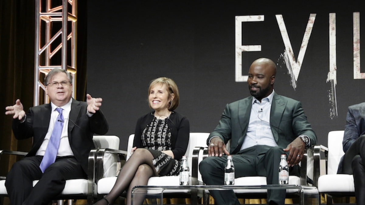 The cast and executive producers of the CBS series EVIL at the TCA SUMMER PRESS TOUR 2019 on Thursday, August 1, 2019 at the Beverly Hilton Hotel in Beverly Hills, CA. Pictured (L-R): Robert King, Showrunner and Executive Producer, Michelle King, Showrunner and Executive Producer, Mike Colter Photo: Francis Specker/CBS ©2019 CBS Broadcasting, Inc. All Rights Reserved