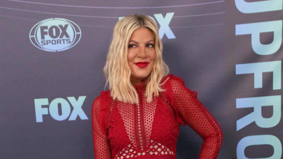 Tori Spelling at the upfronts for FOX.