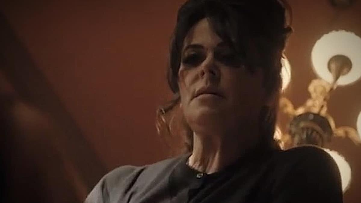 Don't play pop music around Peg Sykes, she;s not having it. Polly Walker's Peg in full rage against Bet. Pic credit: Epix