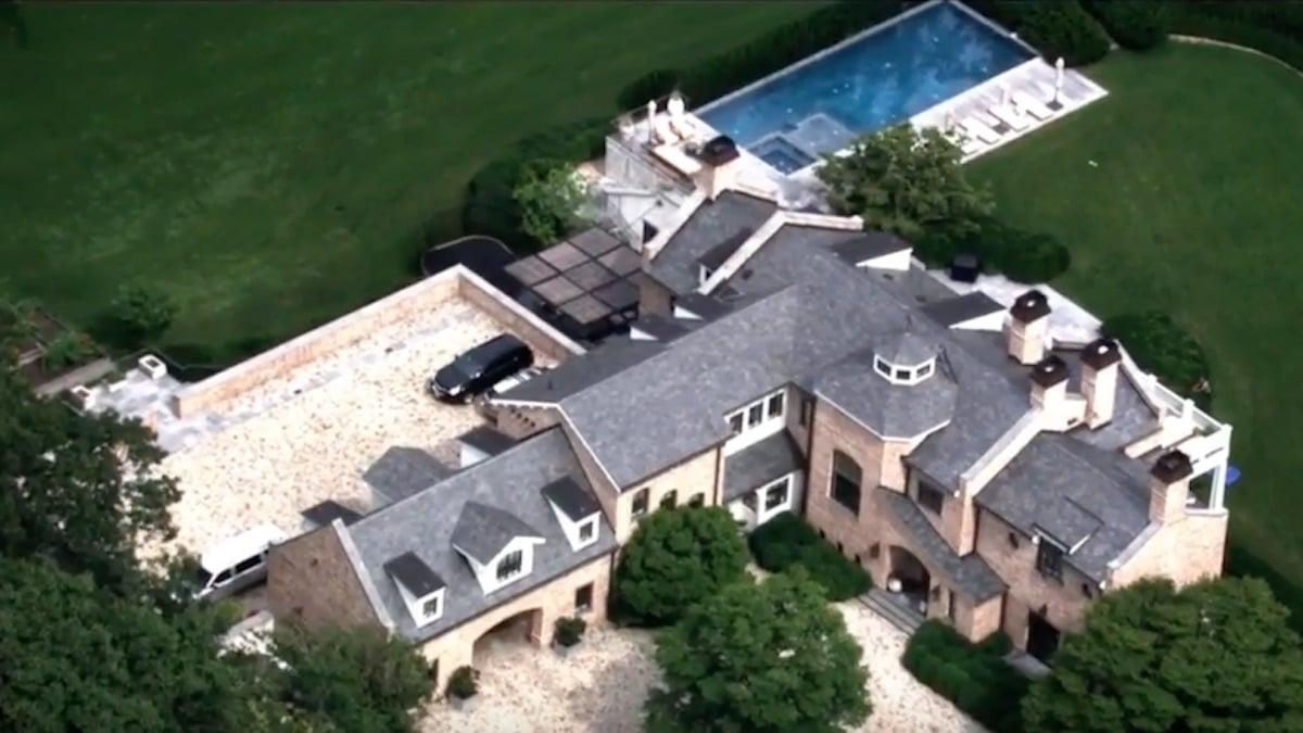 aerial shot of patriots star tom brady's brookline mansion