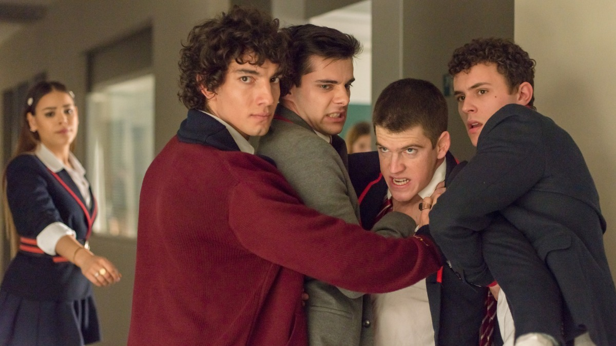 Jorge Lopez, Álvaro Rico, Miguel Bernardeau, and Arón Piper from Elite Season 2.