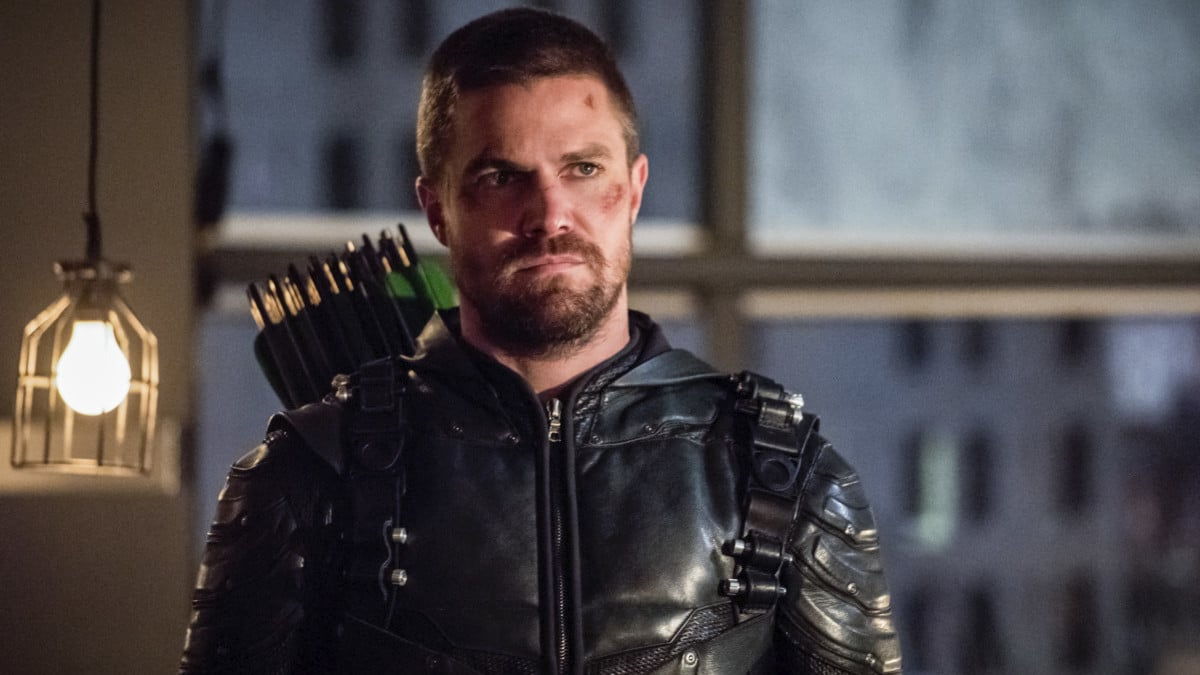Stephen Amell as Oliver Queen/ Green Arrow on Arrow.