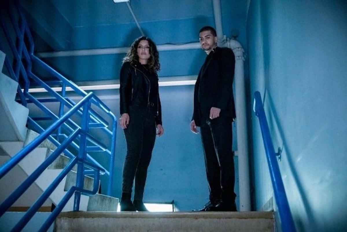 Juliana Harkavy as Dinah Drake/Black Canary and Rick Gonzalez as Rene Ramirez/Wild Dog on Arrow